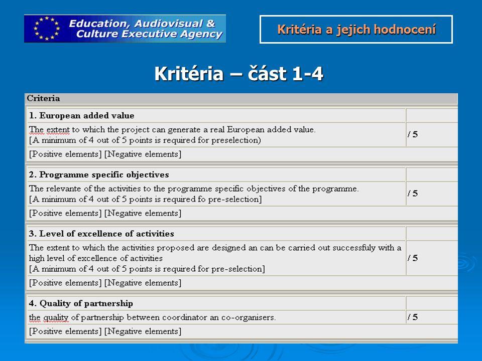 Kritéria – část 1-4 Kritéria a jejich hodnocení Kritéria a jejich hodnocení