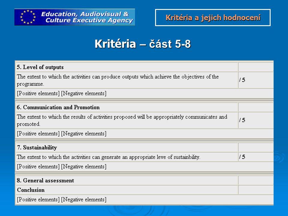 Kritéria – část 5-8 Kritéria a jejich hodnocení Kritéria a jejich hodnocení
