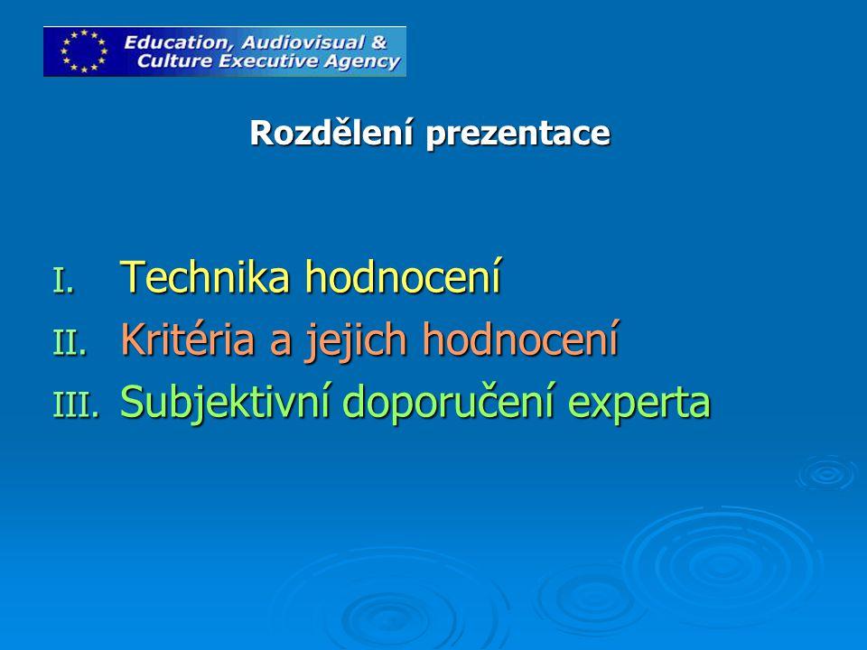 I. Technika hodnocení II. Kritéria a jejich hodnocení III.