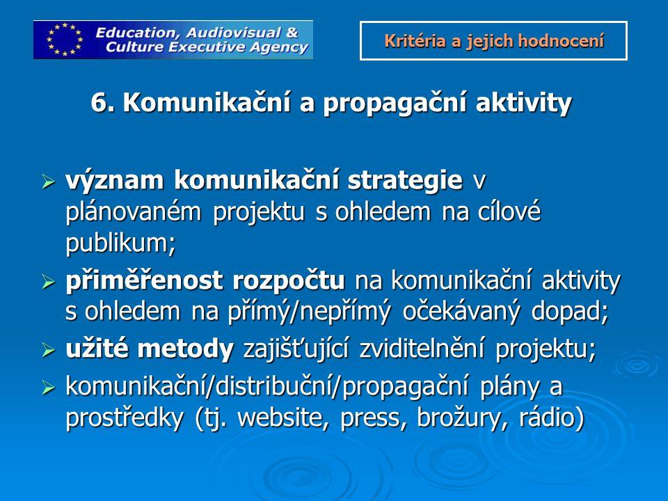  význam komunikační strategie v plánovaném projektu s ohledem na cílové publikum;  přiměřenost rozpočtu na komunikační aktivity s ohledem na přímý/nepřímý očekávaný dopad;  užité metody zajišťující zviditelnění projektu;  komunikační/distribuční/propagační plány a prostředky (tj.