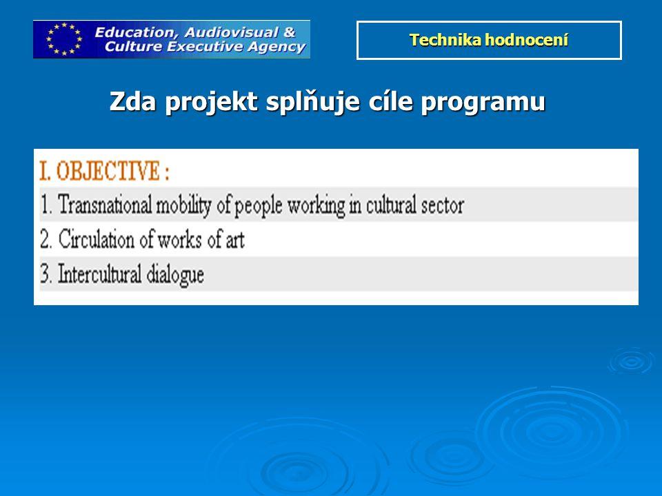 Zda projekt splňuje cíle programu Technika hodnocení