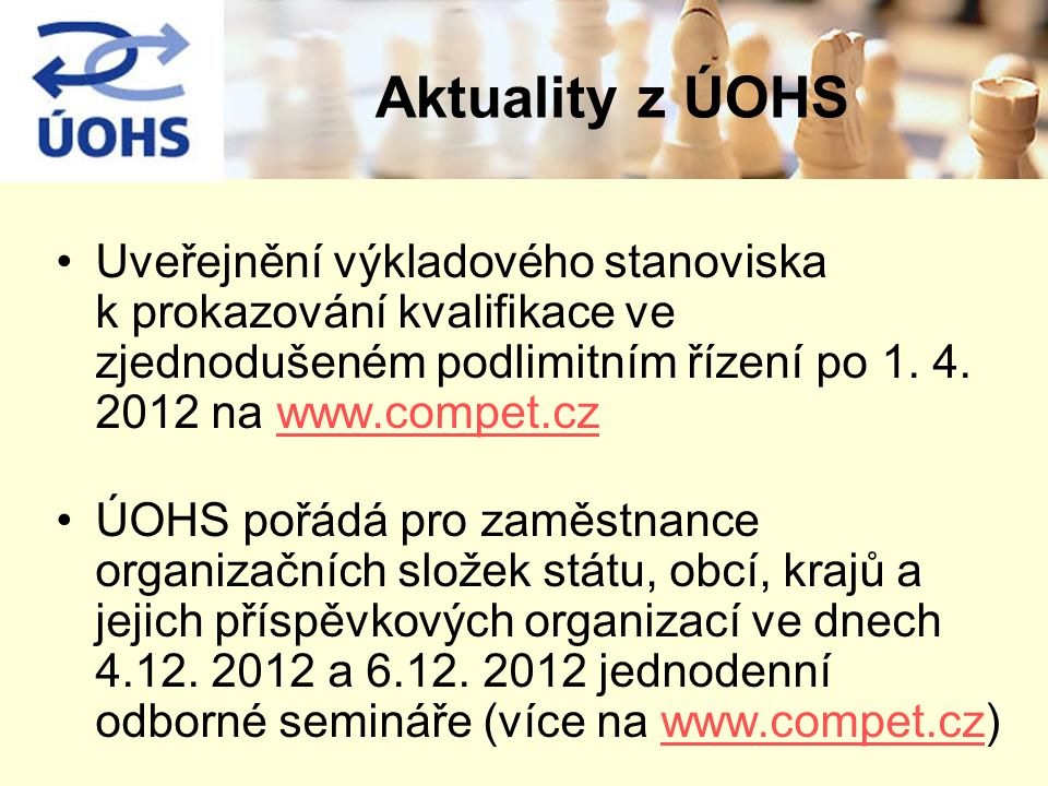 Uveřejnění výkladového stanoviska k prokazování kvalifikace ve zjednodušeném podlimitním řízení po 1. 4. 2012 na www.compet.czwww.compet.cz ÚOHS pořád