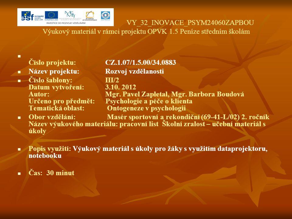 VY_32_INOVACE_PSYM24060ZAPBOU Výukový materiál v rámci projektu OPVK 1.5 Peníze středním školám Číslo projektu:CZ.1.07/1.5.00/34.0883 Název projektu:R