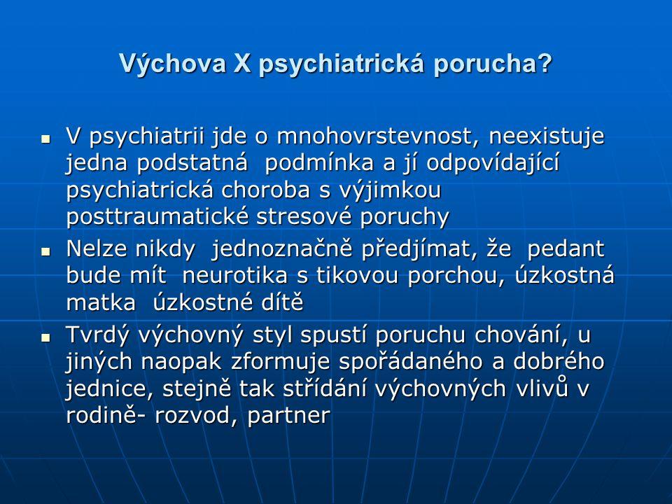 Výchova X psychiatrická porucha? V psychiatrii jde o mnohovrstevnost, neexistuje jedna podstatná podmínka a jí odpovídající psychiatrická choroba s vý