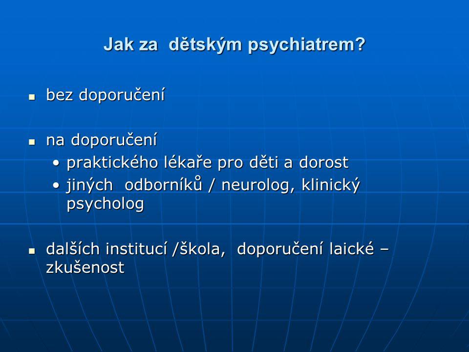 Jak za dětským psychiatrem? bez doporučení bez doporučení na doporučení na doporučení praktického lékaře pro děti a dorostpraktického lékaře pro děti