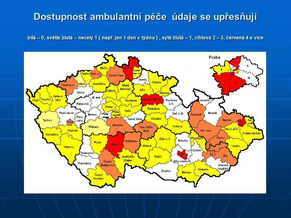 Dostupnost ambulantní péče údaje se upřesňují bílá – 0, světle žlutá – necelý 1 ( např. jen 1 den v týdnu ), sytě žlutá – 1, cihlová 2 – 3, červená 4