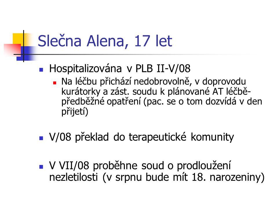 Slečna Alena, 17 let Hospitalizována v PLB II-V/08 Na léčbu přichází nedobrovolně, v doprovodu kurátorky a zást. soudu k plánované AT léčbě- předběžné