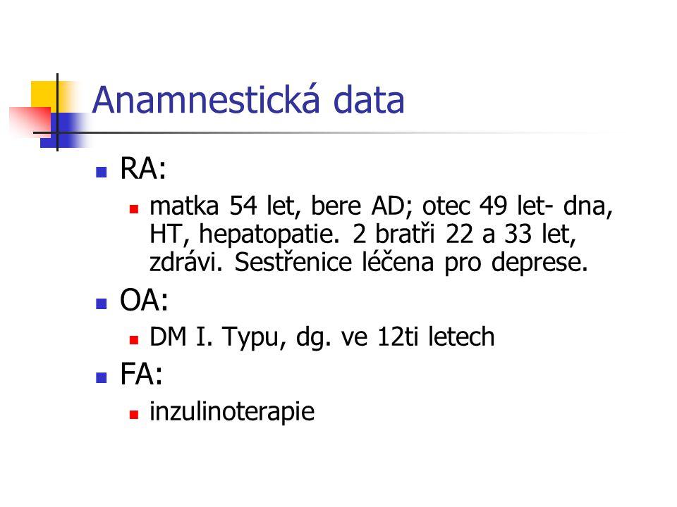 Anamnestická data RA: matka 54 let, bere AD; otec 49 let- dna, HT, hepatopatie. 2 bratři 22 a 33 let, zdrávi. Sestřenice léčena pro deprese. OA: DM I.