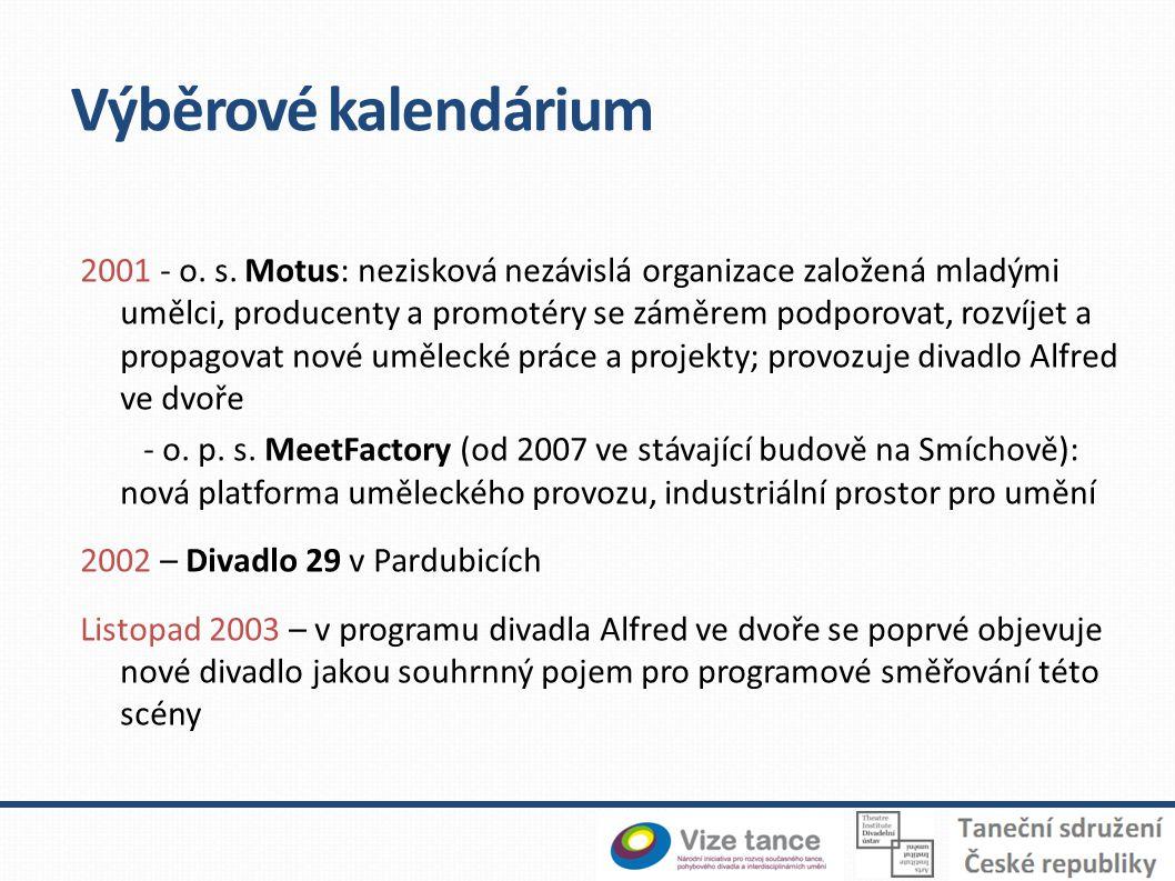 Výběrové kalendárium 2001 - o. s. Motus: nezisková nezávislá organizace založená mladými umělci, producenty a promotéry se záměrem podporovat, rozvíje