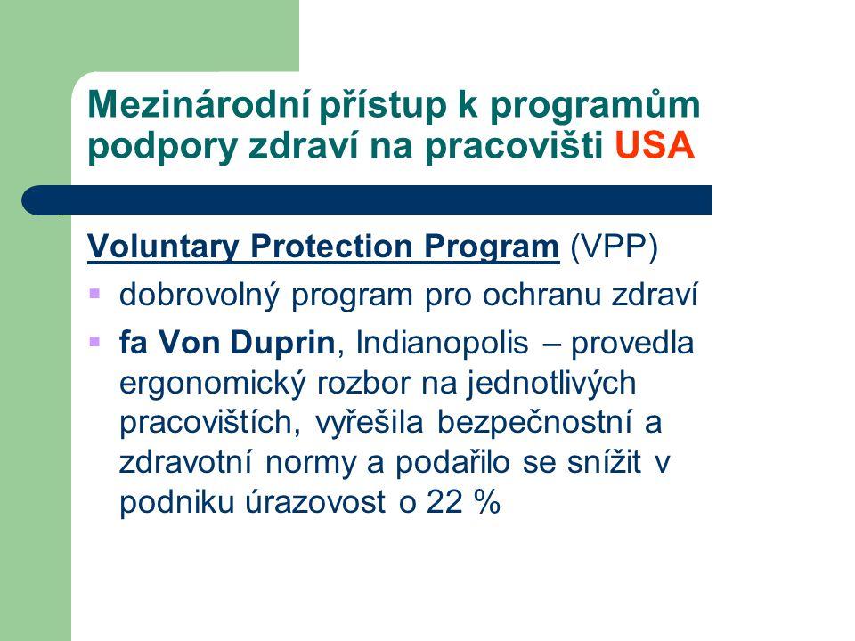 Mezinárodní přístup k programům podpory zdraví na pracovišti USA Voluntary Protection Program (VPP)  dobrovolný program pro ochranu zdraví  fa Von D