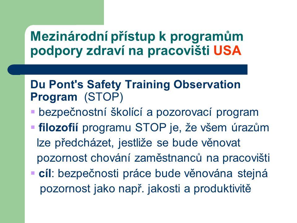 Mezinárodní přístup k programům podpory zdraví na pracovišti USA Du Pont's Safety Training Observation Program (STOP)  bezpečnostní školící a pozorov