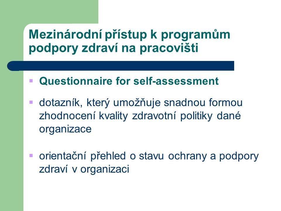 Mezinárodní přístup k programům podpory zdraví na pracovišti  Questionnaire for self-assessment  dotazník, který umožňuje snadnou formou zhodnocení