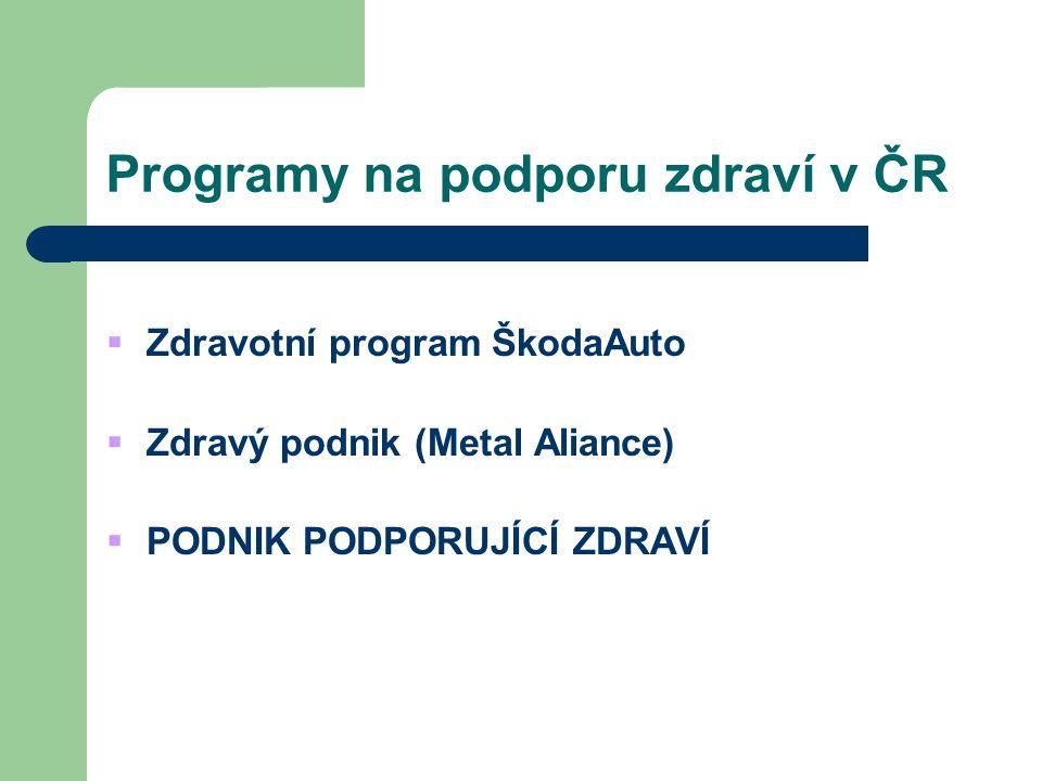 Programy na podporu zdraví v ČR  Zdravotní program ŠkodaAuto  Zdravý podnik (Metal Aliance)  PODNIK PODPORUJÍCÍ ZDRAVÍ