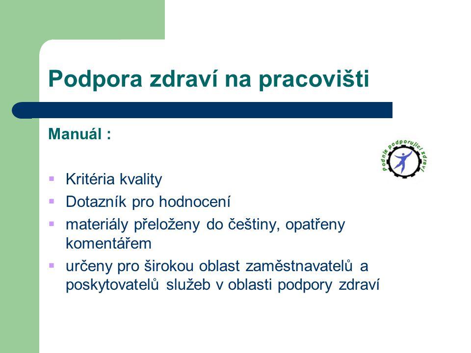 Podpora zdraví na pracovišti Manuál :  Kritéria kvality  Dotazník pro hodnocení  materiály přeloženy do češtiny, opatřeny komentářem  určeny pro š