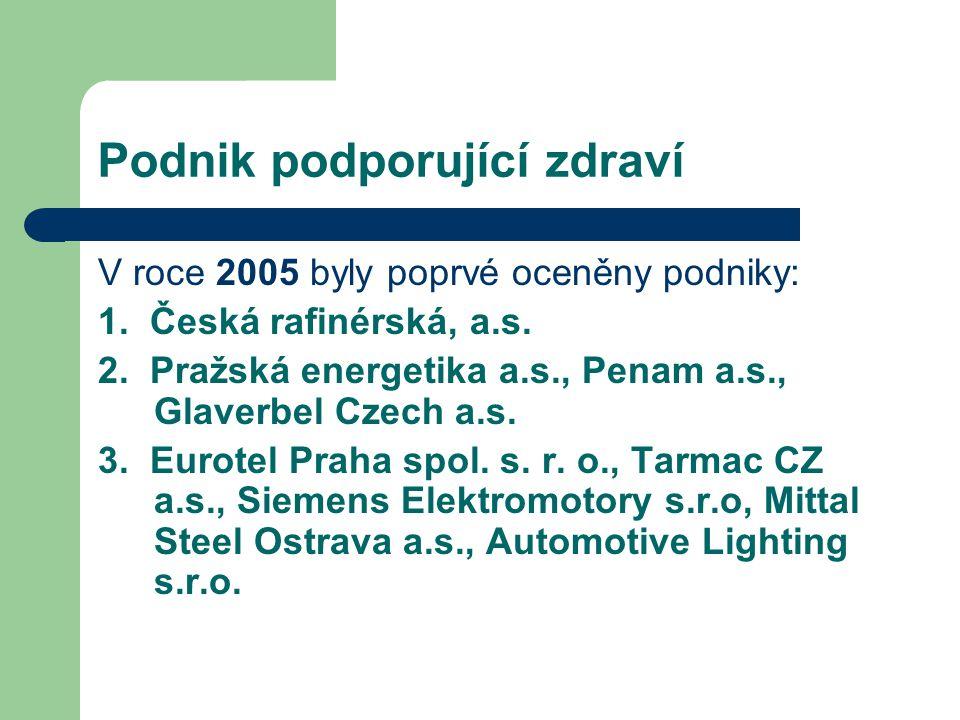 Podnik podporující zdraví V roce 2005 byly poprvé oceněny podniky: 1. Česká rafinérská, a.s. 2. Pražská energetika a.s., Penam a.s., Glaverbel Czech a