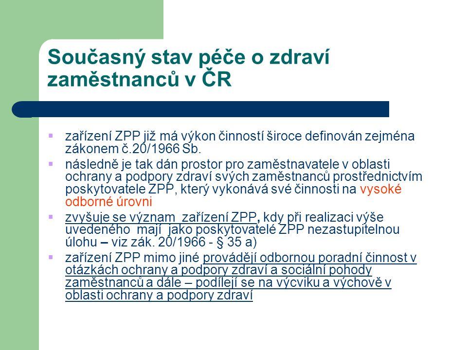 Současný stav péče o zdraví zaměstnanců v ČR  zařízení ZPP již má výkon činností široce definován zejména zákonem č.20/1966 Sb.  následně je tak dán