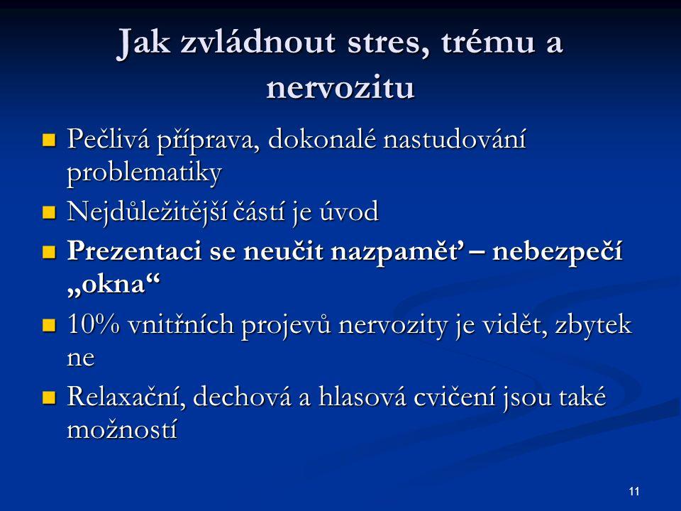 """11 Jak zvládnout stres, trému a nervozitu Pečlivá příprava, dokonalé nastudování problematiky Pečlivá příprava, dokonalé nastudování problematiky Nejdůležitější částí je úvod Nejdůležitější částí je úvod Prezentaci se neučit nazpaměť – nebezpečí """"okna Prezentaci se neučit nazpaměť – nebezpečí """"okna 10% vnitřních projevů nervozity je vidět, zbytek ne 10% vnitřních projevů nervozity je vidět, zbytek ne Relaxační, dechová a hlasová cvičení jsou také možností Relaxační, dechová a hlasová cvičení jsou také možností"""