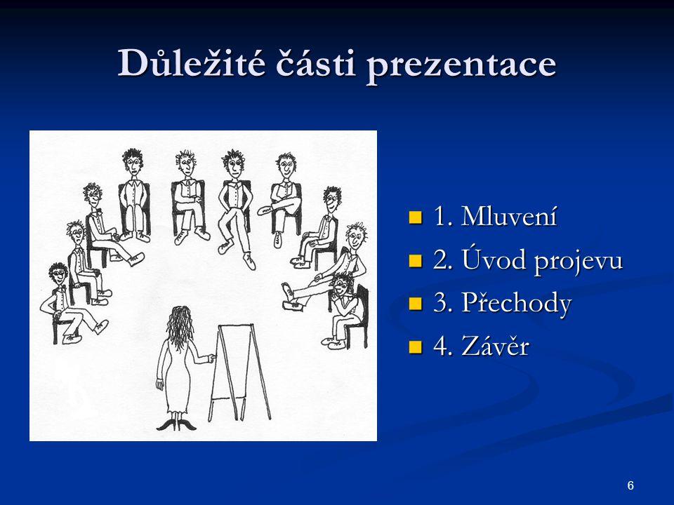 6 Důležité části prezentace 1. Mluvení 1. Mluvení 2. Úvod projevu 2. Úvod projevu 3. Přechody 3. Přechody 4. Závěr 4. Závěr