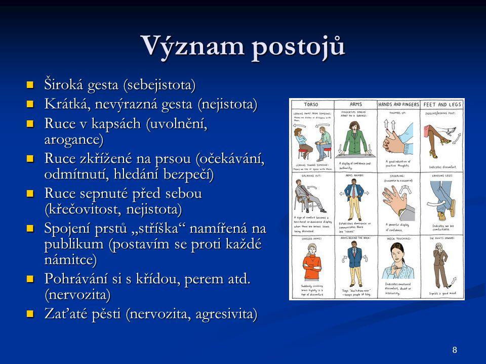 """8 Význam postojů Široká gesta (sebejistota) Široká gesta (sebejistota) Krátká, nevýrazná gesta (nejistota) Krátká, nevýrazná gesta (nejistota) Ruce v kapsách (uvolnění, arogance) Ruce v kapsách (uvolnění, arogance) Ruce zkřížené na prsou (očekávání, odmítnutí, hledání bezpečí) Ruce zkřížené na prsou (očekávání, odmítnutí, hledání bezpečí) Ruce sepnuté před sebou (křečovitost, nejistota) Ruce sepnuté před sebou (křečovitost, nejistota) Spojení prstů """"stříška namířená na publikum (postavím se proti každé námitce) Spojení prstů """"stříška namířená na publikum (postavím se proti každé námitce) Pohrávání si s křídou, perem atd."""
