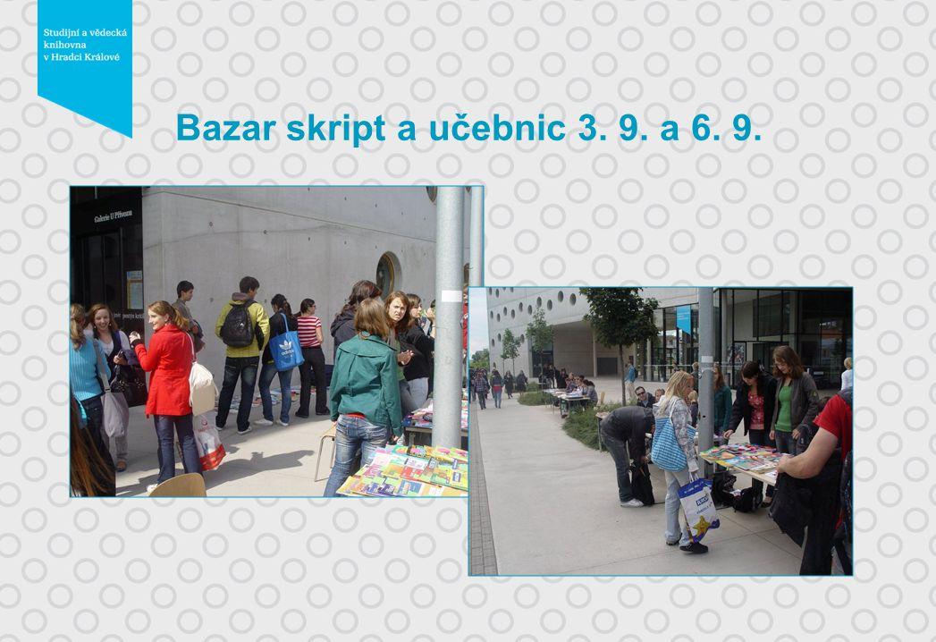 Bazar skript a učebnic 3. 9. a 6. 9.