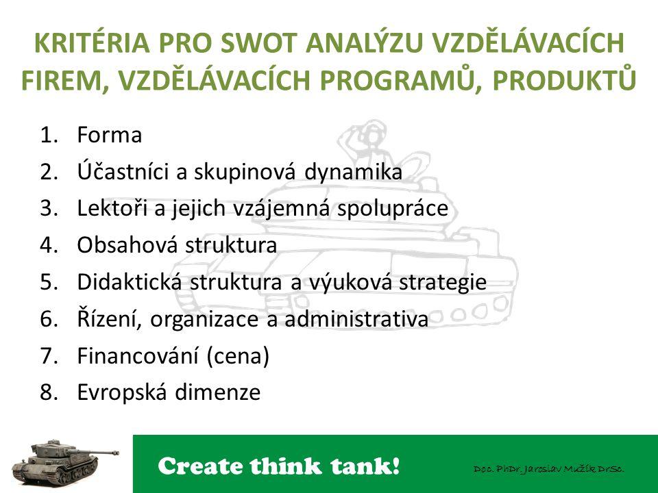 Create think tank! Doc. PhDr. Jaroslav Mužík DrSc. KRITÉRIA PRO SWOT ANALÝZU VZDĚLÁVACÍCH FIREM, VZDĚLÁVACÍCH PROGRAMŮ, PRODUKTŮ 1.Forma 2.Účastníci a