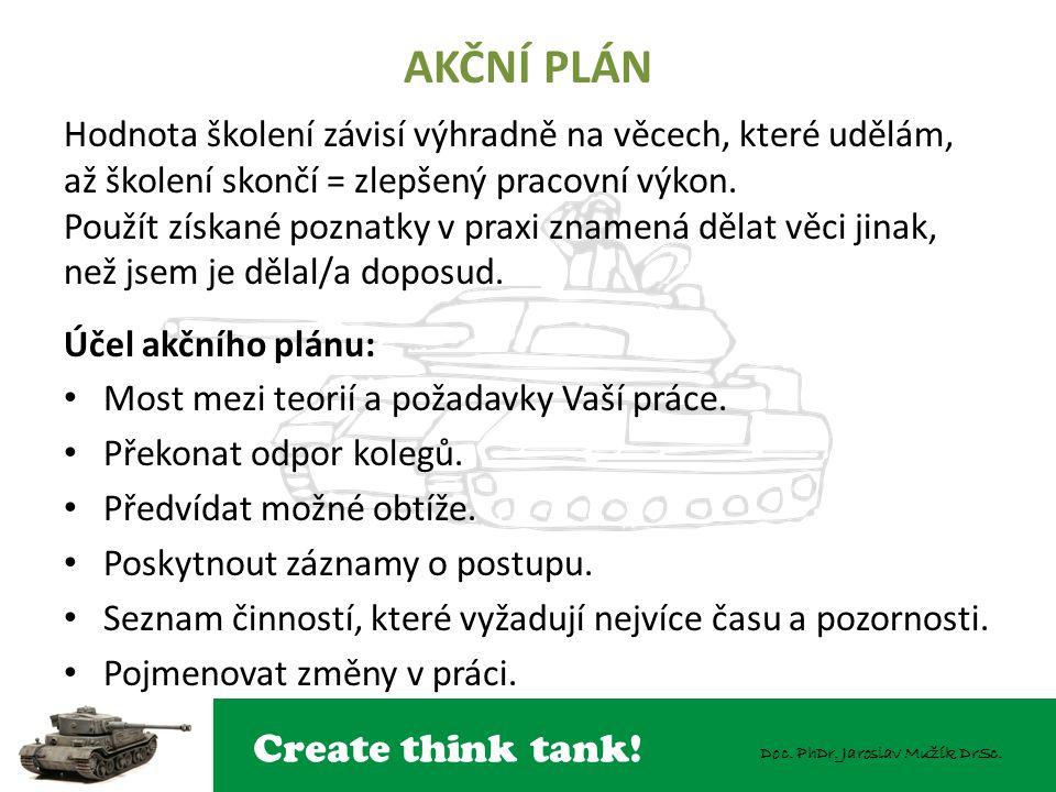 Create think tank! Doc. PhDr. Jaroslav Mužík DrSc. AKČNÍ PLÁN Hodnota školení závisí výhradně na věcech, které udělám, až školení skončí = zlepšený pr