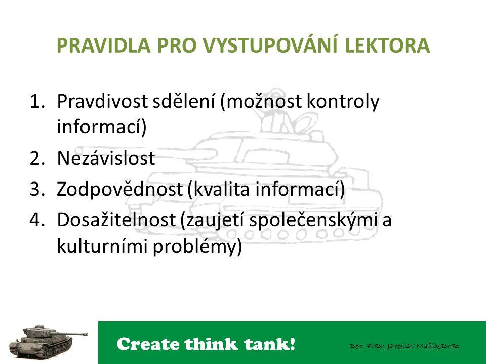 Create think tank! Doc. PhDr. Jaroslav Mužík DrSc. PRAVIDLA PRO VYSTUPOVÁNÍ LEKTORA 1.Pravdivost sdělení (možnost kontroly informací) 2.Nezávislost 3.