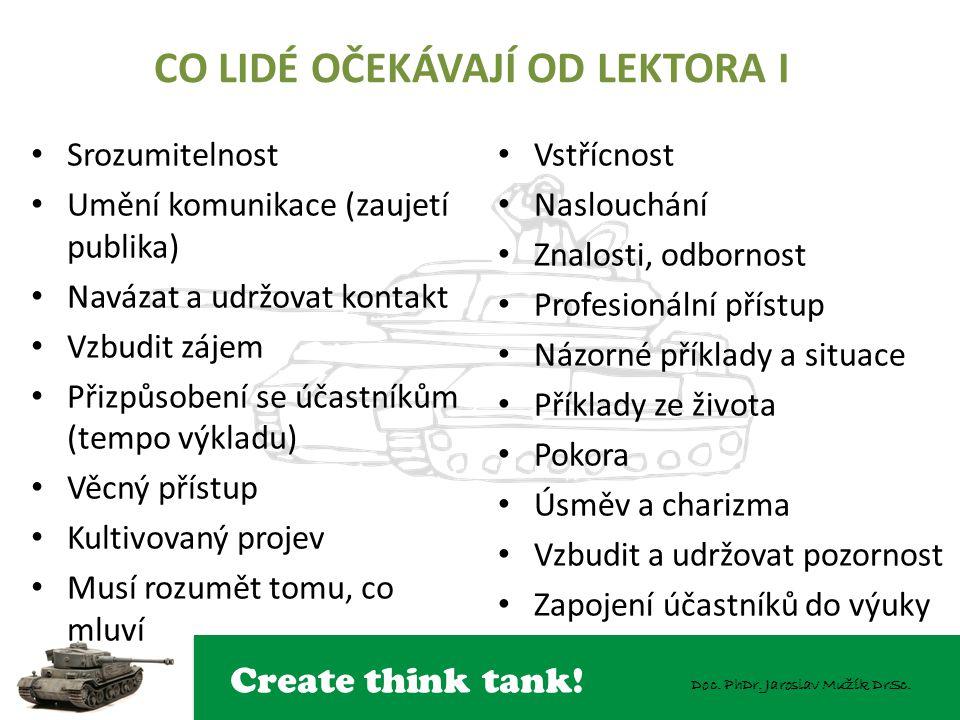 Create think tank! Doc. PhDr. Jaroslav Mužík DrSc. CO LIDÉ OČEKÁVAJÍ OD LEKTORA I Srozumitelnost Umění komunikace (zaujetí publika) Navázat a udržovat