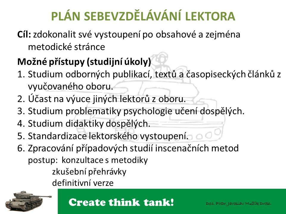 Create think tank! Doc. PhDr. Jaroslav Mužík DrSc. PLÁN SEBEVZDĚLÁVÁNÍ LEKTORA Cíl: zdokonalit své vystoupení po obsahové a zejména metodické stránce