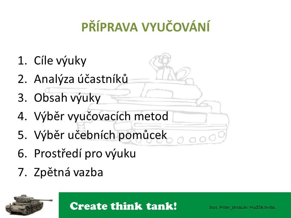 Create think tank! Doc. PhDr. Jaroslav Mužík DrSc. PŘÍPRAVA VYUČOVÁNÍ 1.Cíle výuky 2.Analýza účastníků 3.Obsah výuky 4.Výběr vyučovacích metod 5.Výběr
