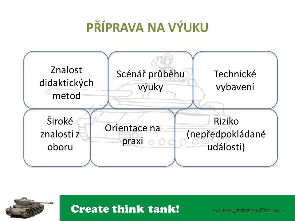 Create think tank! Doc. PhDr. Jaroslav Mužík DrSc. PŘÍPRAVA NA VÝUKU Znalost didaktických metod Scénář průběhu výuky Technické vybavení Široké znalost