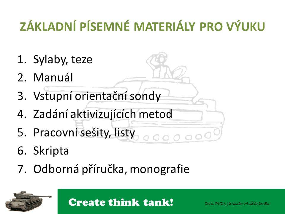 Create think tank! Doc. PhDr. Jaroslav Mužík DrSc. ZÁKLADNÍ PÍSEMNÉ MATERIÁLY PRO VÝUKU 1.Sylaby, teze 2.Manuál 3.Vstupní orientační sondy 4.Zadání ak