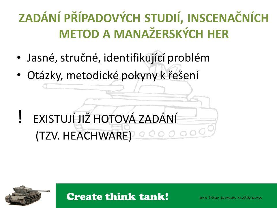 Create think tank! Doc. PhDr. Jaroslav Mužík DrSc. ZADÁNÍ PŘÍPADOVÝCH STUDIÍ, INSCENAČNÍCH METOD A MANAŽERSKÝCH HER Jasné, stručné, identifikující pro