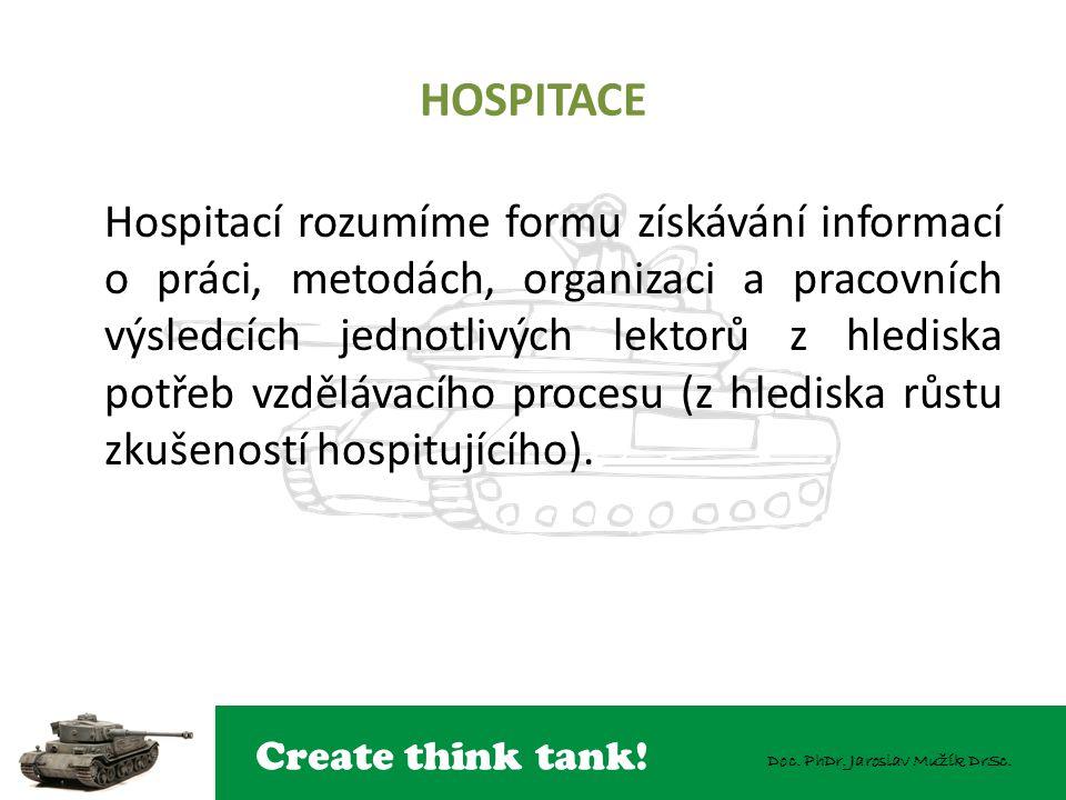 Create think tank! Doc. PhDr. Jaroslav Mužík DrSc. HOSPITACE Hospitací rozumíme formu získávání informací o práci, metodách, organizaci a pracovních v