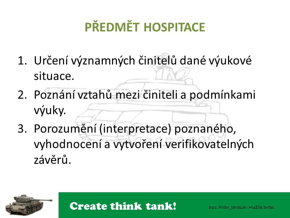 Create think tank! Doc. PhDr. Jaroslav Mužík DrSc. PŘEDMĚT HOSPITACE 1.Určení významných činitelů dané výukové situace. 2.Poznání vztahů mezi činiteli
