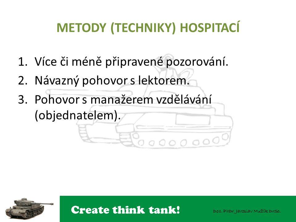 Create think tank! Doc. PhDr. Jaroslav Mužík DrSc. METODY (TECHNIKY) HOSPITACÍ 1.Více či méně připravené pozorování. 2.Návazný pohovor s lektorem. 3.P