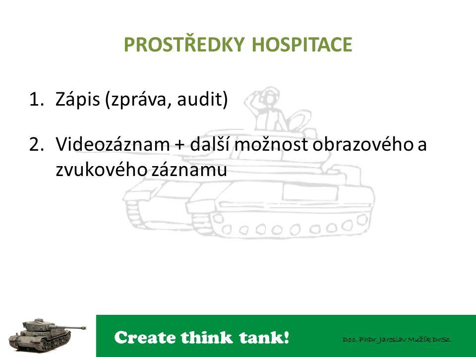 Create think tank! Doc. PhDr. Jaroslav Mužík DrSc. PROSTŘEDKY HOSPITACE 1.Zápis (zpráva, audit) 2.Videozáznam + další možnost obrazového a zvukového z