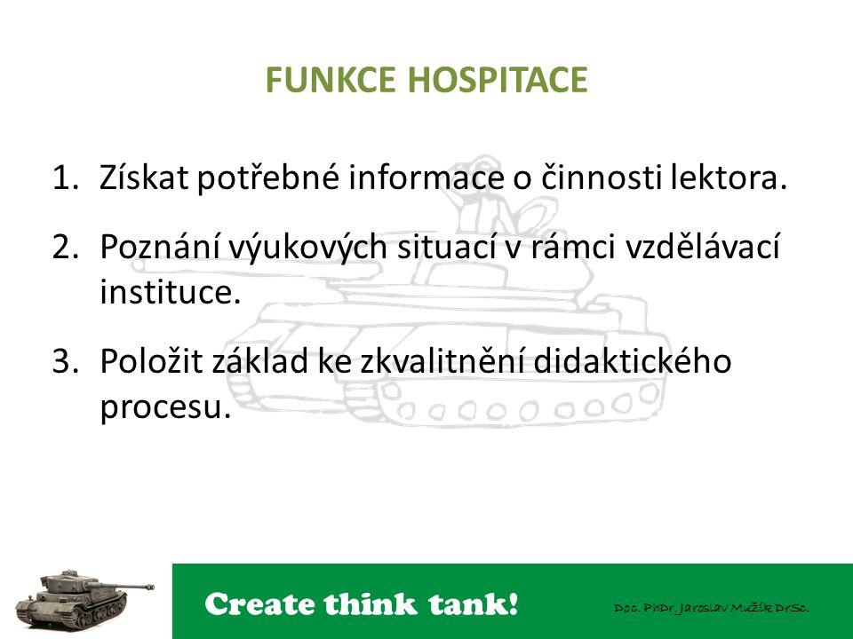 Create think tank! Doc. PhDr. Jaroslav Mužík DrSc. FUNKCE HOSPITACE 1.Získat potřebné informace o činnosti lektora. 2.Poznání výukových situací v rámc