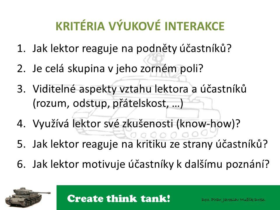Create think tank! Doc. PhDr. Jaroslav Mužík DrSc. KRITÉRIA VÝUKOVÉ INTERAKCE 1.Jak lektor reaguje na podněty účastníků? 2.Je celá skupina v jeho zorn