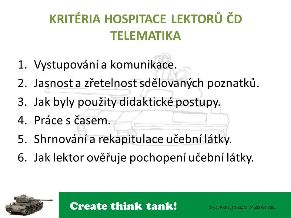 Create think tank! Doc. PhDr. Jaroslav Mužík DrSc. KRITÉRIA HOSPITACE LEKTORŮ ČD TELEMATIKA 1.Vystupování a komunikace. 2.Jasnost a zřetelnost sdělova