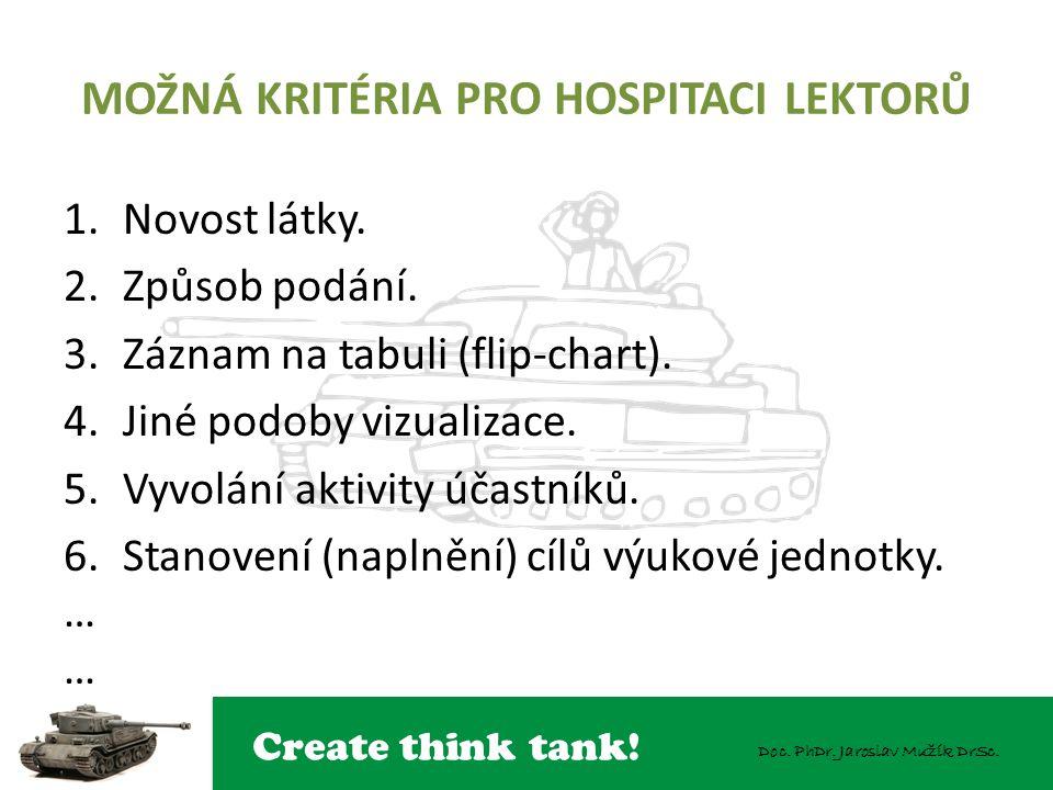 Create think tank! Doc. PhDr. Jaroslav Mužík DrSc. MOŽNÁ KRITÉRIA PRO HOSPITACI LEKTORŮ 1.Novost látky. 2.Způsob podání. 3.Záznam na tabuli (flip-char