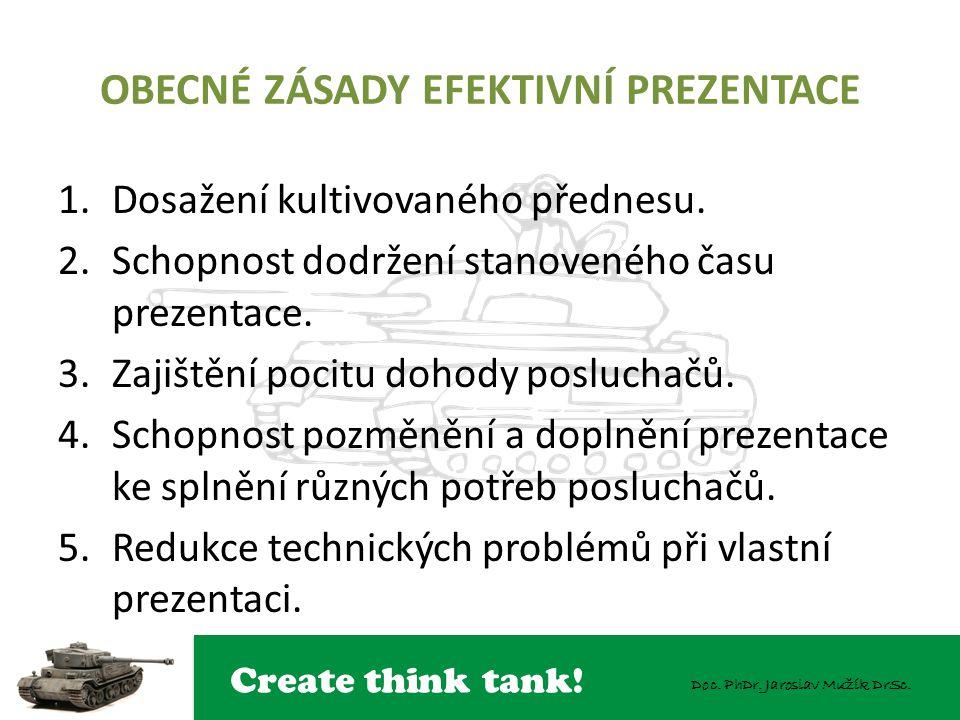 Create think tank! Doc. PhDr. Jaroslav Mužík DrSc. OBECNÉ ZÁSADY EFEKTIVNÍ PREZENTACE 1.Dosažení kultivovaného přednesu. 2.Schopnost dodržení stanoven