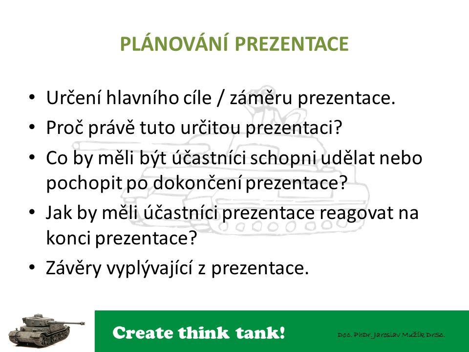 Create think tank! Doc. PhDr. Jaroslav Mužík DrSc. PLÁNOVÁNÍ PREZENTACE Určení hlavního cíle / záměru prezentace. Proč právě tuto určitou prezentaci?