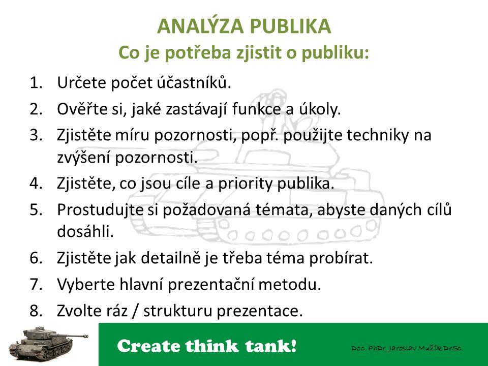 Create think tank! Doc. PhDr. Jaroslav Mužík DrSc. ANALÝZA PUBLIKA Co je potřeba zjistit o publiku: 1.Určete počet účastníků. 2.Ověřte si, jaké zastáv