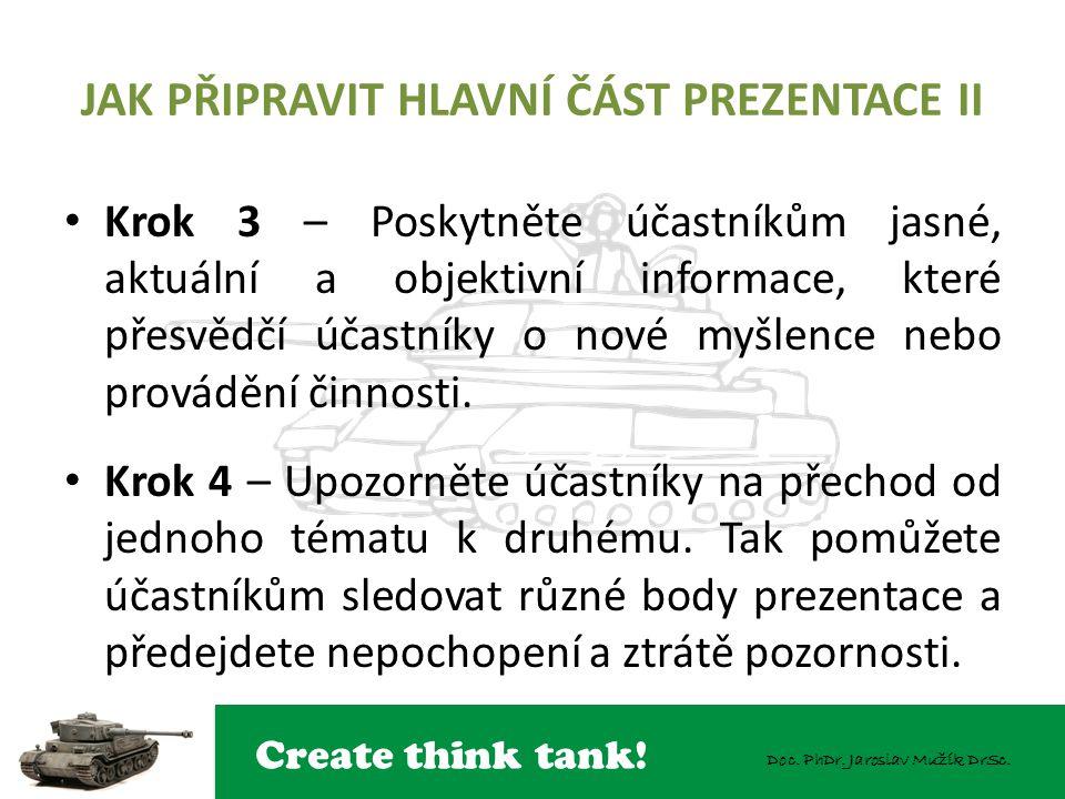 Create think tank! Doc. PhDr. Jaroslav Mužík DrSc. JAK PŘIPRAVIT HLAVNÍ ČÁST PREZENTACE II Krok 3 – Poskytněte účastníkům jasné, aktuální a objektivní