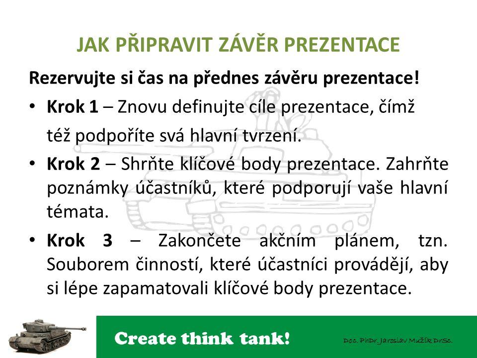 Create think tank! Doc. PhDr. Jaroslav Mužík DrSc. JAK PŘIPRAVIT ZÁVĚR PREZENTACE Rezervujte si čas na přednes závěru prezentace! Krok 1 – Znovu defin