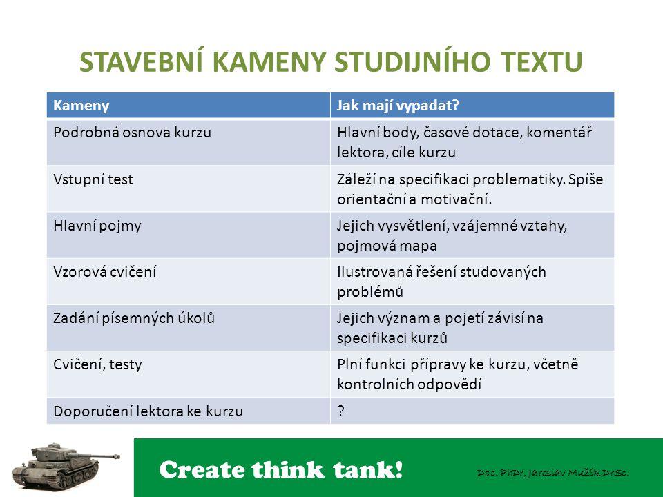 Create think tank! Doc. PhDr. Jaroslav Mužík DrSc. STAVEBNÍ KAMENY STUDIJNÍHO TEXTU KamenyJak mají vypadat? Podrobná osnova kurzuHlavní body, časové d