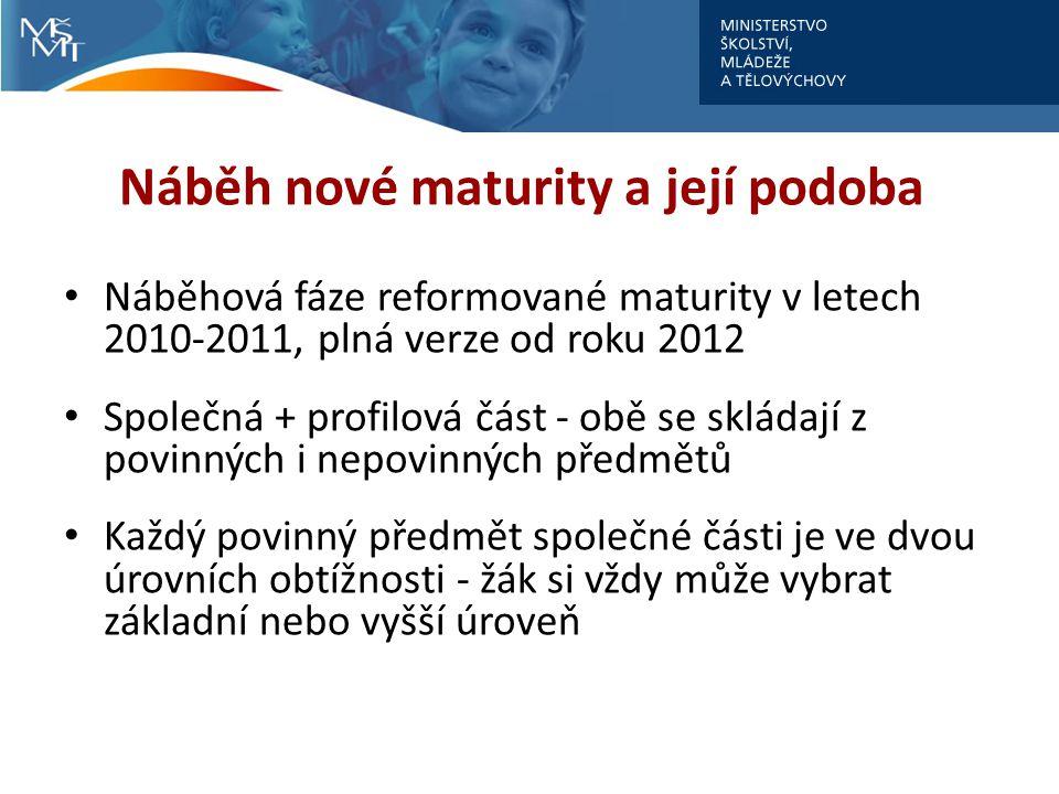 Náběh nové maturity a její podoba Náběhová fáze reformované maturity v letech 2010-2011, plná verze od roku 2012 Společná + profilová část - obě se sk