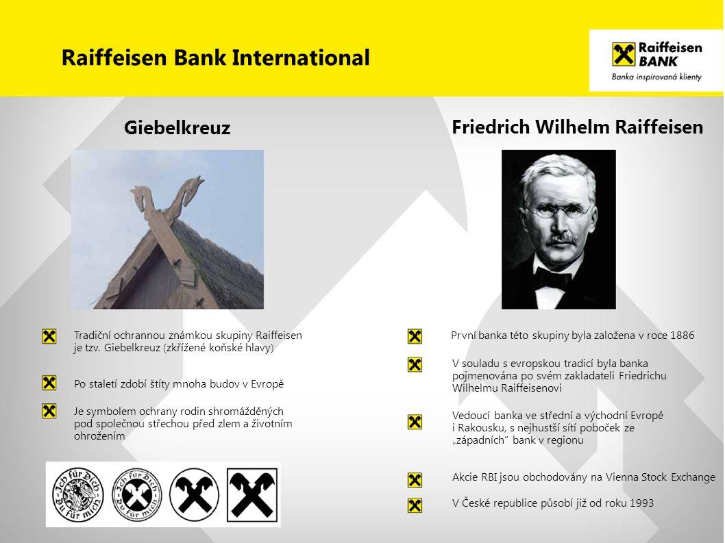 Friedrich Wilhelm Raiffeisen Giebelkreuz Tradiční ochrannou známkou skupiny Raiffeisen je tzv. Giebelkreuz (zkřížené koňské hlavy) Po staletí zdobí št