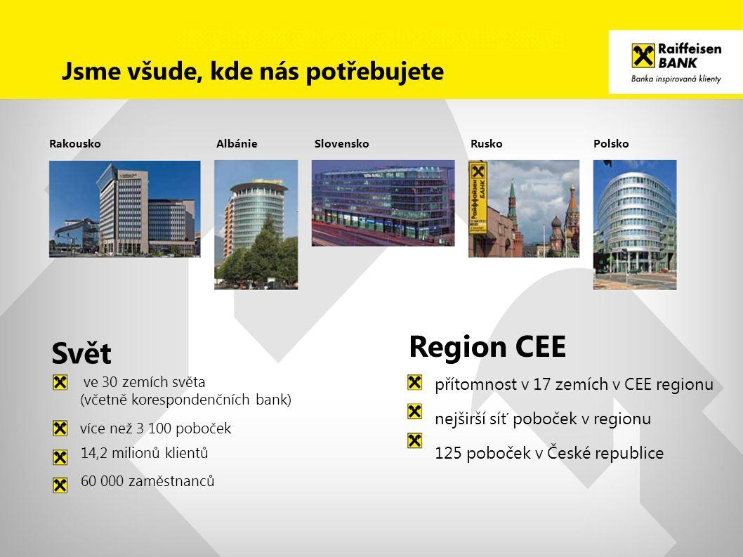 Svět Region CEE přítomnost v 17 zemích v CEE regionu nejširší síť poboček v regionu 125 poboček v České republice RakouskoSlovenskoAlbánieRuskoPolsko